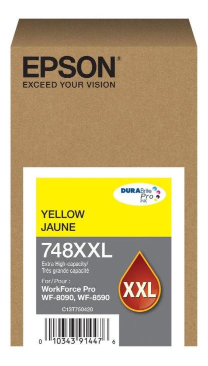 CARTUCHO DE TINTA COLOR EPSON T748 XXL DURA BRITE amarillo   PORTAL INSUMOS